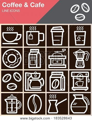 Coffee and Cafe line icons set outline vector symbol collection linear style pictogram pack. Signs logo illustration web graphics