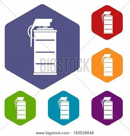 Stun grenade icons set hexagon isolated vector illustration