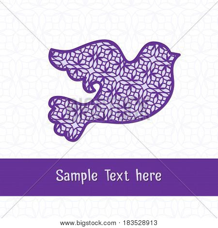 Paper cutting card. Decorative openwork bird. Can be used for laser or plotter cutting