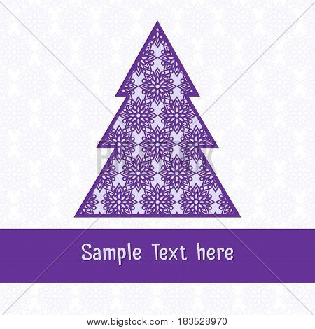 Paper cutting card.Decorative openwork Christmas tree. Can be used for laser or plotter cutting