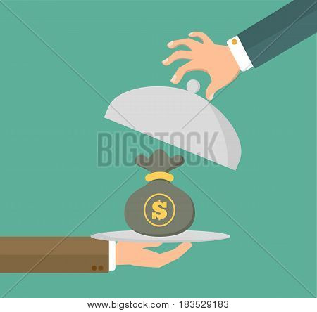 Businessman hand holding silver plater with money bag. Service concept in flat style. Vector stock.