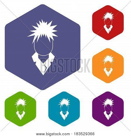 Singer icons set hexagon isolated vector illustration