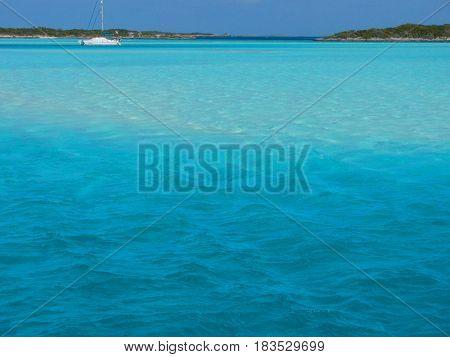 Sailboat at anchor in the Exuma islands of the Bahamas