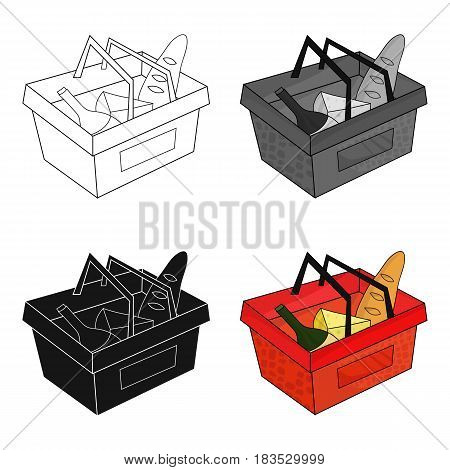 Shopping basket full of groceries icon in cartoon design isolated on white background. Supermarket symbol stock vector illustration.