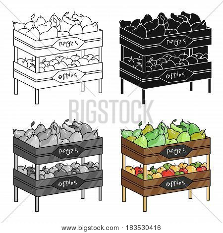 Raw food lying on rack shelves icon in cartoon design isolated on white background. Supermarket symbol stock vector illustration.