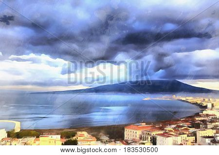 Colorful painting of aerial view on Mount Vesuvius, Campania, Italy