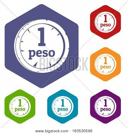 Peso icons set hexagon isolated vector illustration
