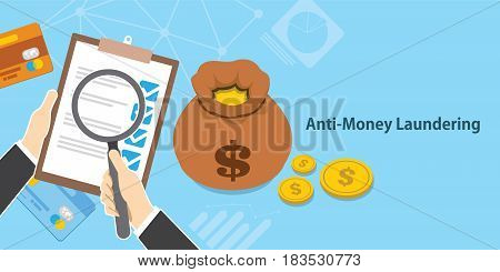 anti money laundering AML cash coin credit transaction company vector illustration