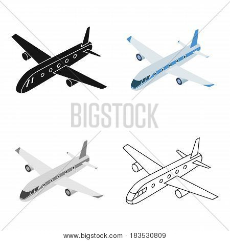 Airplane icon in cartoon design isolated on white background. Transportation symbol stock vector illustration.