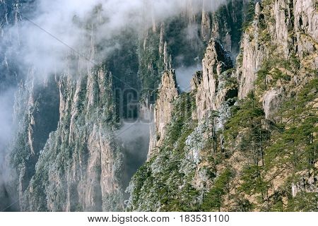 Clouds above the peaks of Huangshan National park. China.