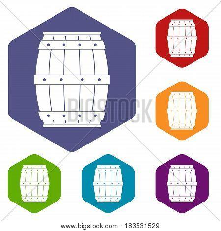 Wooden barrel icons set hexagon isolated vector illustration