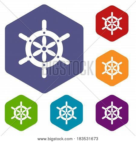 Ship wheel icons set hexagon isolated vector illustration