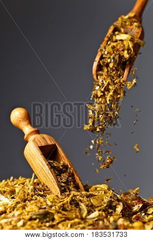 Wooden Spoons With Mixture Of Different  Spices