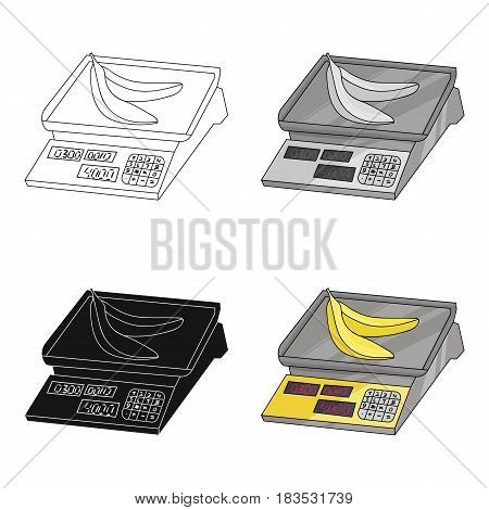 Store scale icon in cartoon design isolated on white background. Supermarket symbol stock vector illustration.