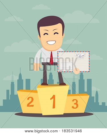 Businessman winner standing in first place on a podium with an envelope over his head, he celebrates his victory vector illustration