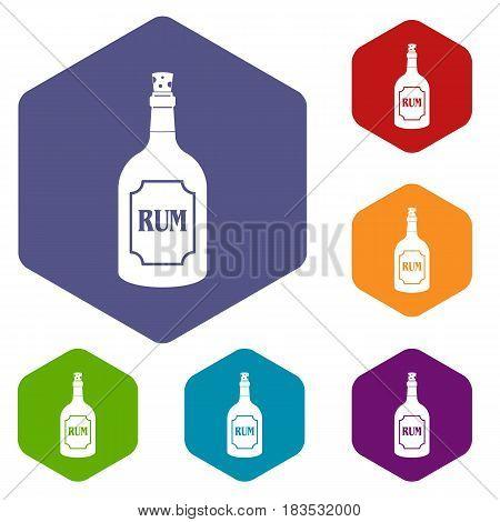 Rum icons set hexagon isolated vector illustration