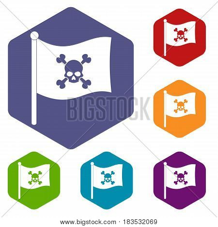 Pirate flag icons set hexagon isolated vector illustration