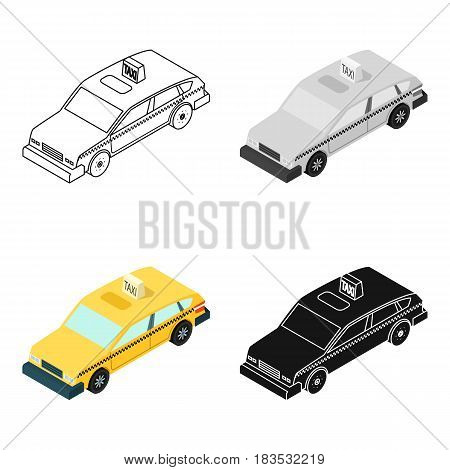 Taxi car icon in cartoon design isolated on white background. Transportation symbol stock vector illustration.