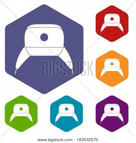 Earflap hat icons set hexagon isolated vector illustration