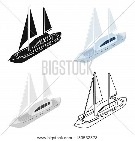 Yacht icon in cartoon design isolated on white background. Transportation symbol stock vector illustration.