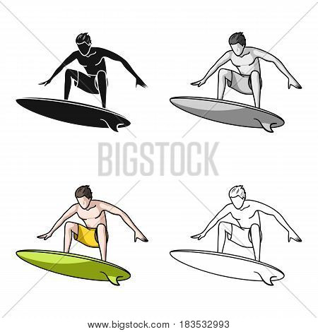 Surfer in action icon in cartoon design isolated on white background. Surfing symbol stock vector illustration.