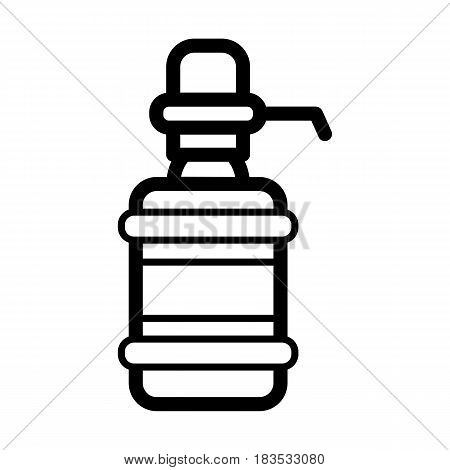 The water package with pump. Black outline icon on white background. Eps 10