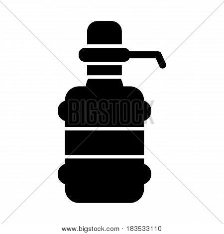 The water package with pump. Black solid icon on white background. Eps 10