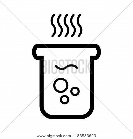 boiling water icon vector. Glass with hot water. On white background. Eps 10