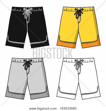 Swimming trunks icon in cartoon design isolated on white background. Surfing symbol stock vector illustration.