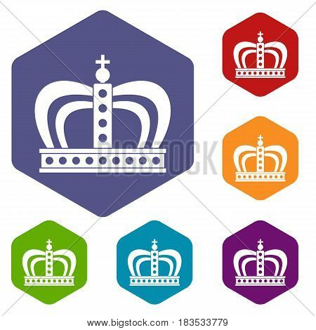 Monarchy crown icons set hexagon isolated vector illustration