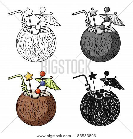 Coconut cocktail icon in cartoon design isolated on white background. Surfing symbol stock vector illustration.