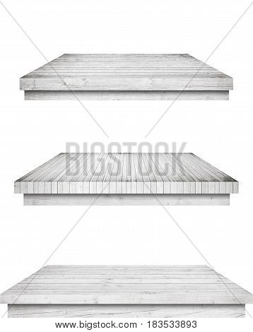 Grey old wooden kitchen table tops, desk are isolated white background.