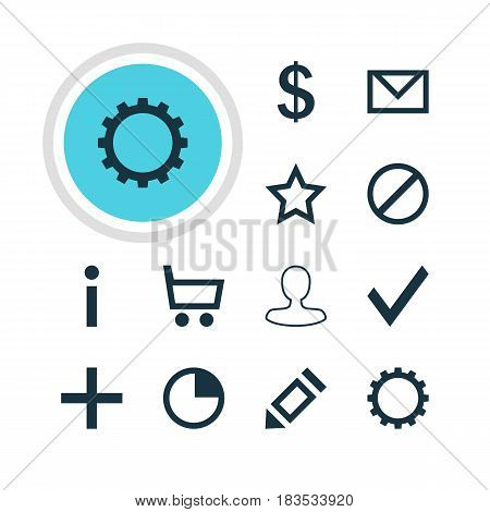 Vector Illustration Of 12 Interface Icons. Editable Pack Of Letter, Plus, Cogwheel And Other Elements.