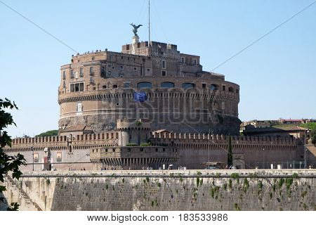 ROME, ITALY - SEPTEMBER 03: The Mausoleum of Hadrian, usually known as the Castel Sant'Angelo in Rome, Italy  on September 03, 2016.