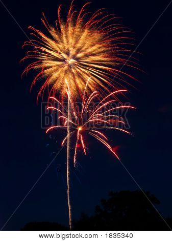 Red, Gold, Pink Fireworks