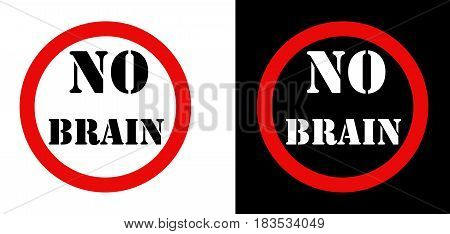No Brain Attention sign set logo web