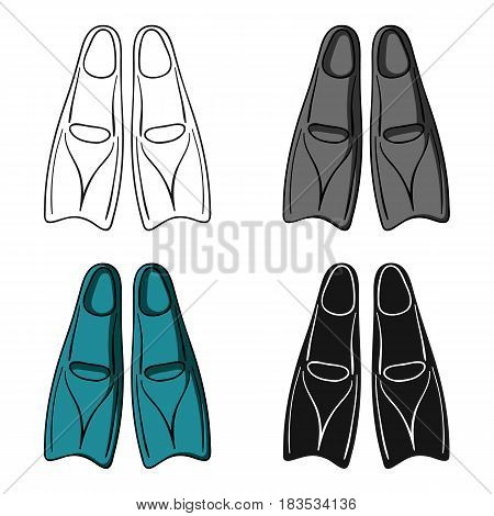 Flippers icon in cartoon design isolated on white background. Surfing symbol stock vector illustration.