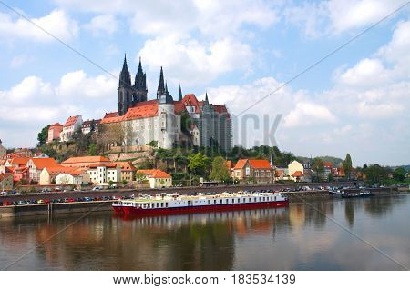 historical center of Meissen and Burgberg in saxony Germany