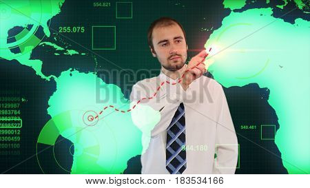 Businessman Touching Digital Data On Hologram Screen With His Finger