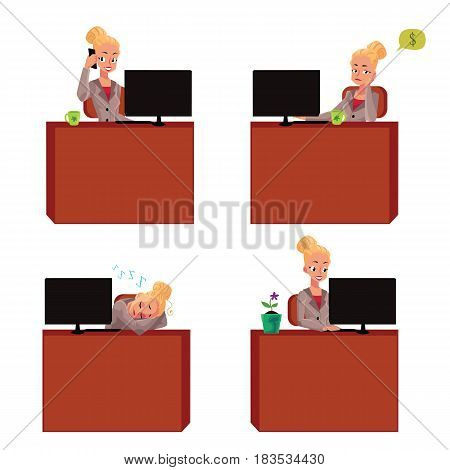 Young and beautiful businesswoman sitting at office desk, working on laptop, talking by phone, having nap, cartoon vector illustration isolated on white background. Blond businesswoman at office desk