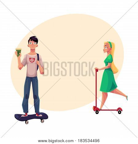 Girl, woman riding push scooter and boy, man standing on skateboard, personal urban transport, cartoon vector illustration with space for text. Girl riding kick scooter, man on skateboard