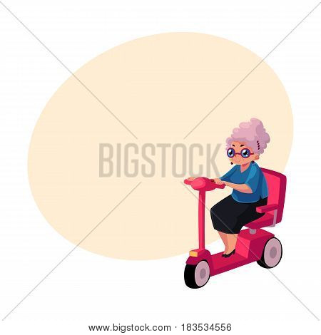 Stylish old lady driving, riding modern scooter, moped, personal transport concept, cartoon vector illustration with space for text. Old woman riding modern style scooter