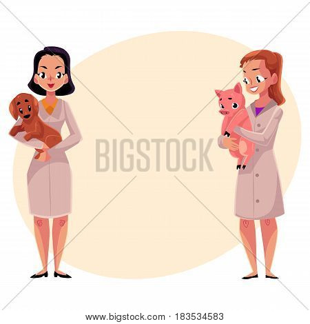 Two women, female veterinarians, vets in medical coats holding dog and pig, cartoon vector illustration with space for text. Female vets, veterinarian doctors, pets and farm animals