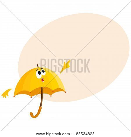 Funny yellow umbrella character with human face pointing to something with surprise, cartoon vector illustration with space for text. Umbrella, parasol character, mascot, with pointing finger