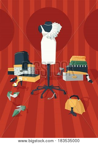 Vertical vector illustration with interior of woman wardrobe with dress on mannequin drawn in geometric style graphic. Stylish fashion room with mess of shoes boxes bijouterie and clothing on red.