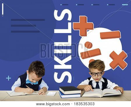 Students solving mathematics solution lessons
