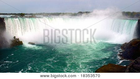 Beautiful Niagara falls with copyspace at the top