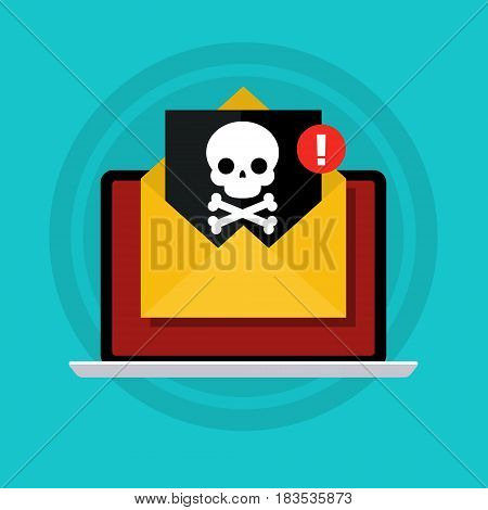 Concept of virus, piracy, hacking and security. Laptop with malicious content and skull on the screen. Flat design, vector illustration.
