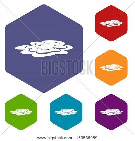 Water puddle icons set hexagon isolated vector illustration