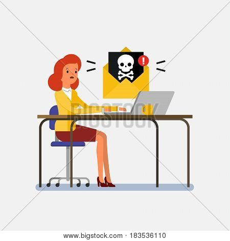 Concept of computer viruses, system errors. Cartoon business woman sitting at the table and working on the computer. Flat design, vector illustration.